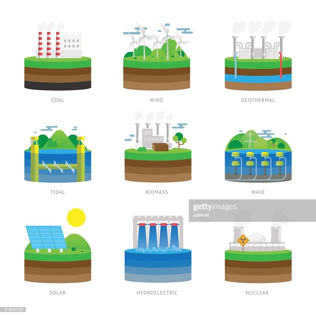 Alternative energy source electricity power resource eco set vector illustration