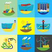 Alternative energy source set vector illustration.