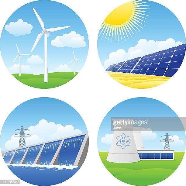 alternative energy - nuclear energy stock illustrations