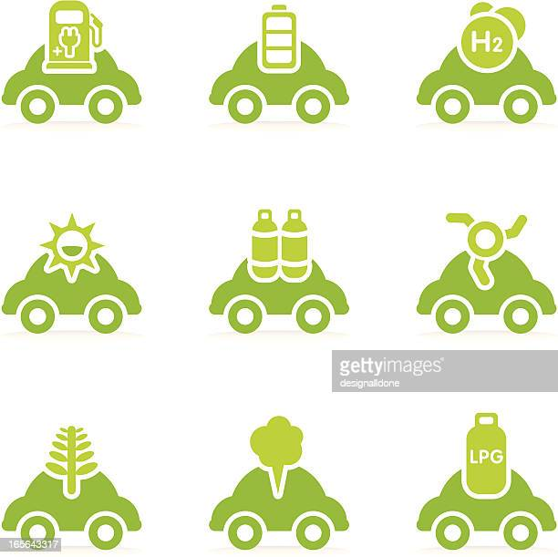 alternative fuel car icons - hybrid car stock illustrations, clip art, cartoons, & icons