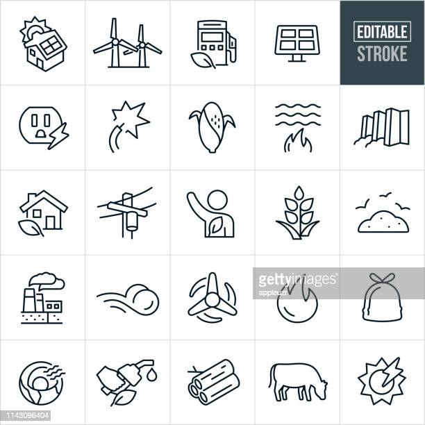 Alternative Fuel Thin Line Icons - Editable Stroke
