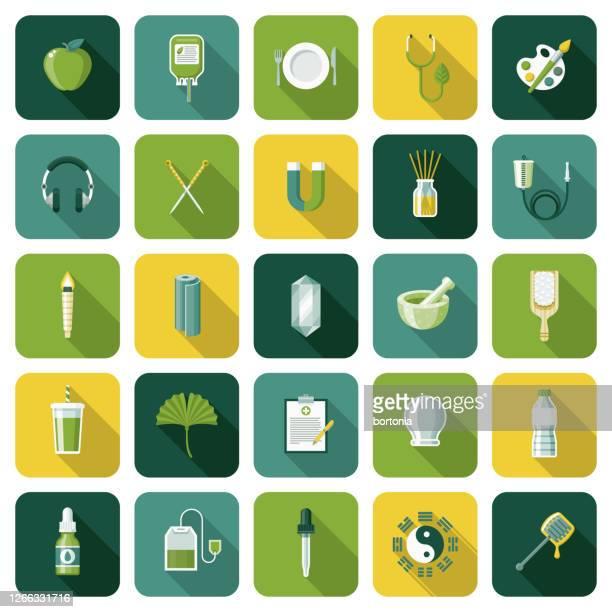 代替医療と自然療法アイコンセット - 漢方薬点のイラスト素材/クリップアート素材/マンガ素材/アイコン素材