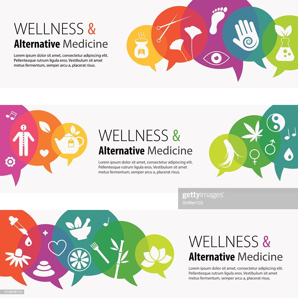 Alternative Medicine Banners And Icon Set : stock illustration