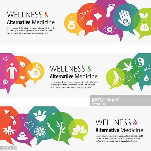 Alternative Medicine Banners And Icon Set