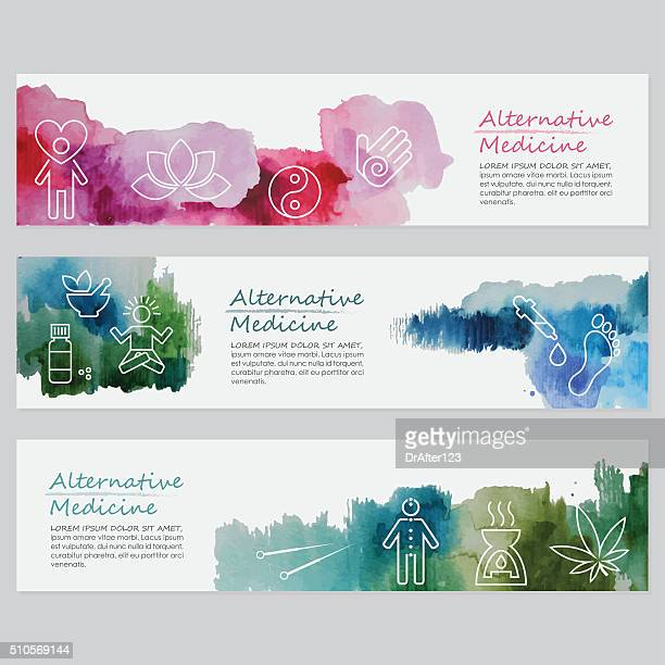Alternative Medicine Banners Including Line Icons Set