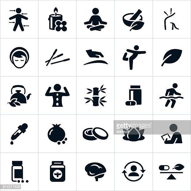 ilustraciones, imágenes clip art, dibujos animados e iconos de stock de iconos de medicina alternativa - yoga