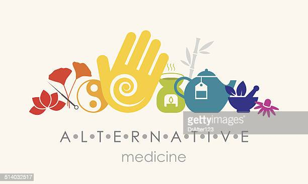 alternative medicine sign - alternative therapy stock illustrations, clip art, cartoons, & icons