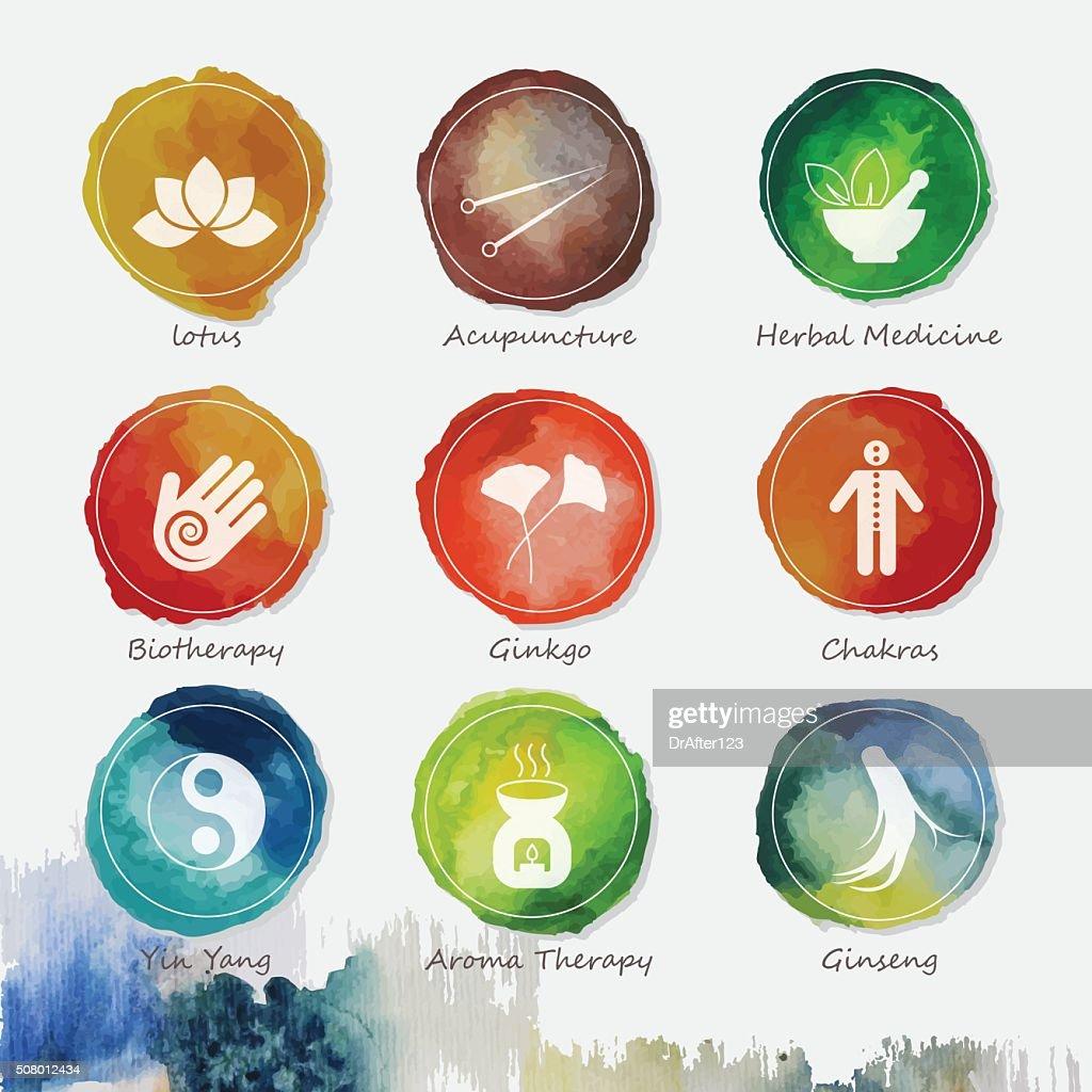Alternative Medicine Watercolor Icons Set