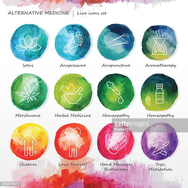 Alternative Medicine Watercolor Line Icons Set