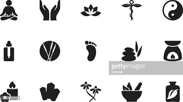 alternative therapy icons . simple black - mortar and pestle stock illustrations, clip art, cartoons, & icons