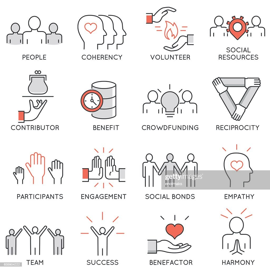 Altruism, benevolence, human responsible and beneficence icons