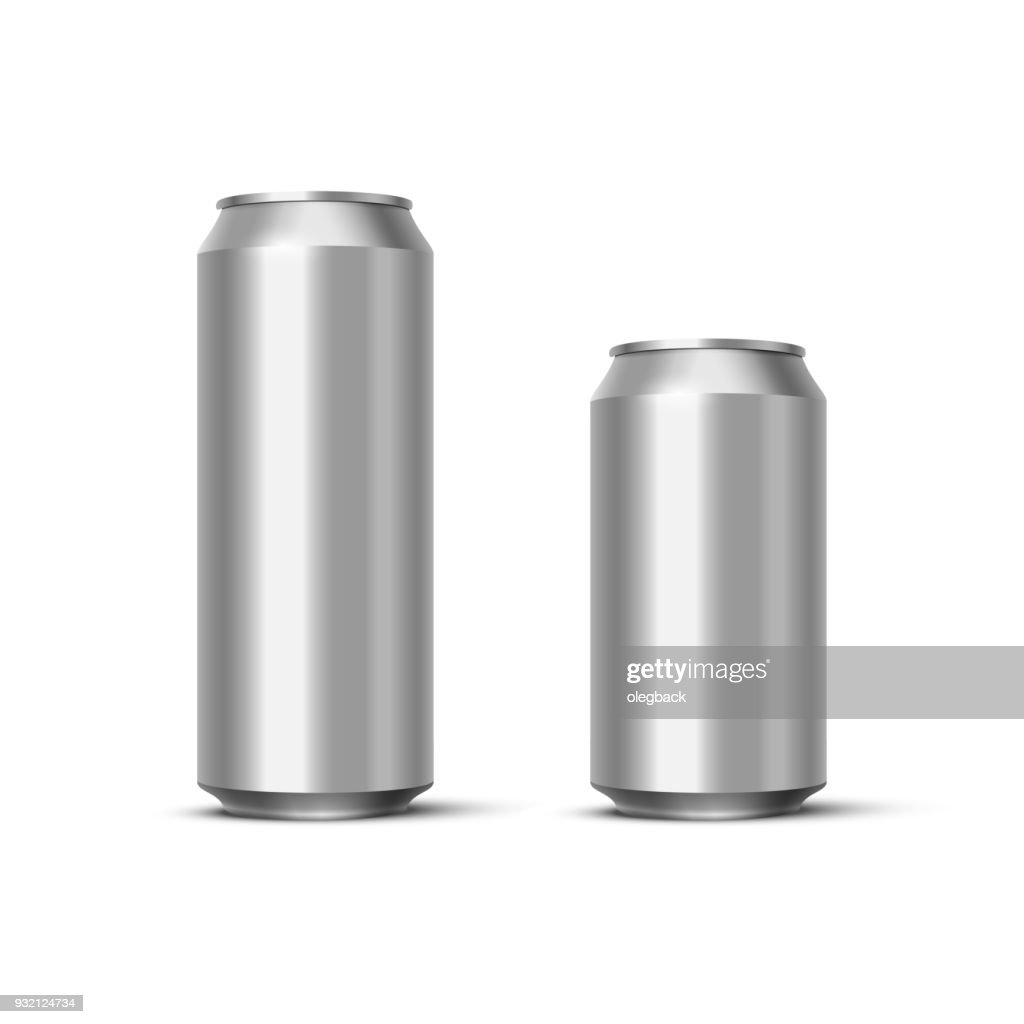 Aluminium beer or soda pack mock up. Vector realistic blank metallic cans isolated on white background.