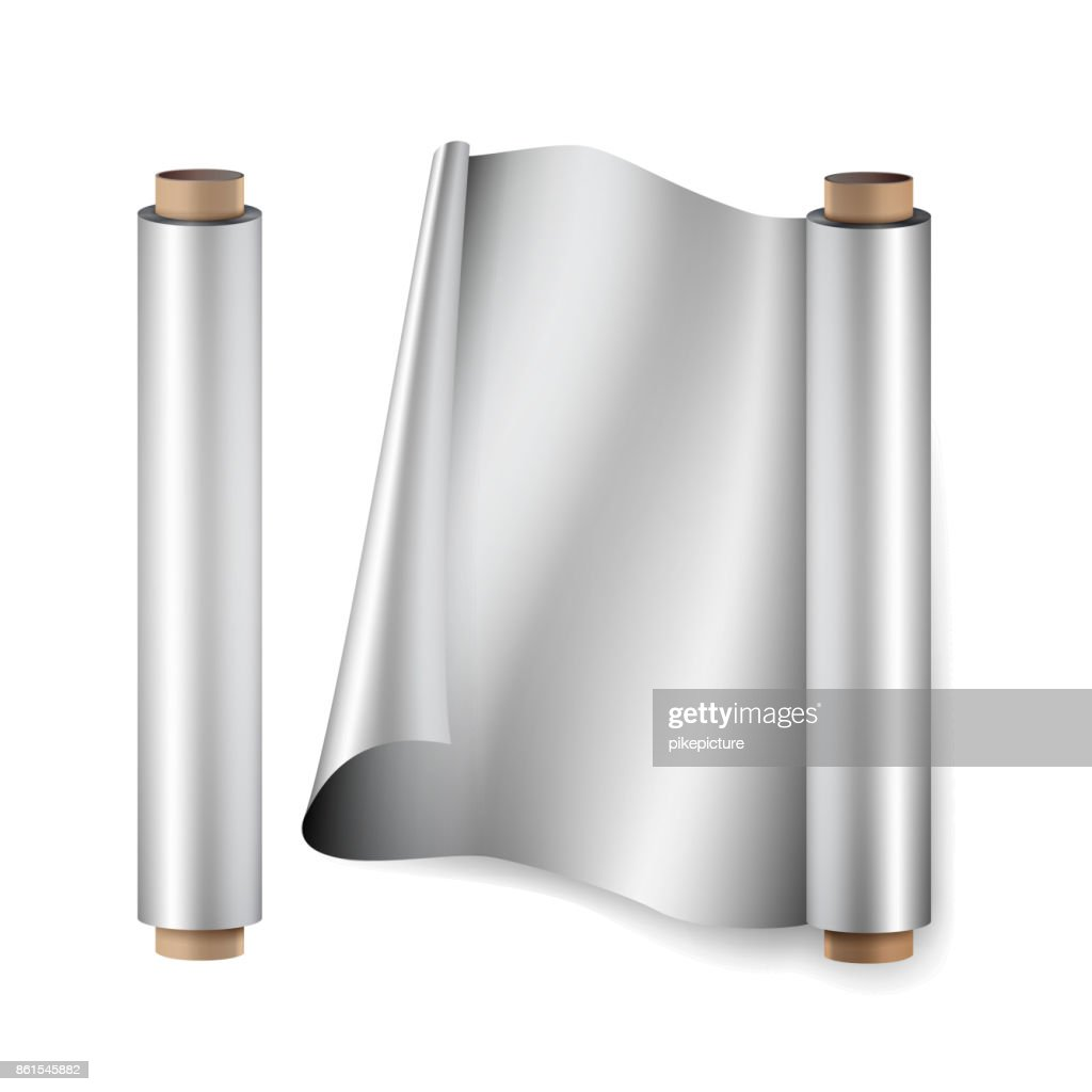 Aluminium Foil Roll Vector. Close Up Top View. Opened And Closed. Realistic Illustration Isolated On White