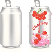 Aluminum can with cherries juice