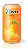 Aluminum can with pear fruit juice. Vector