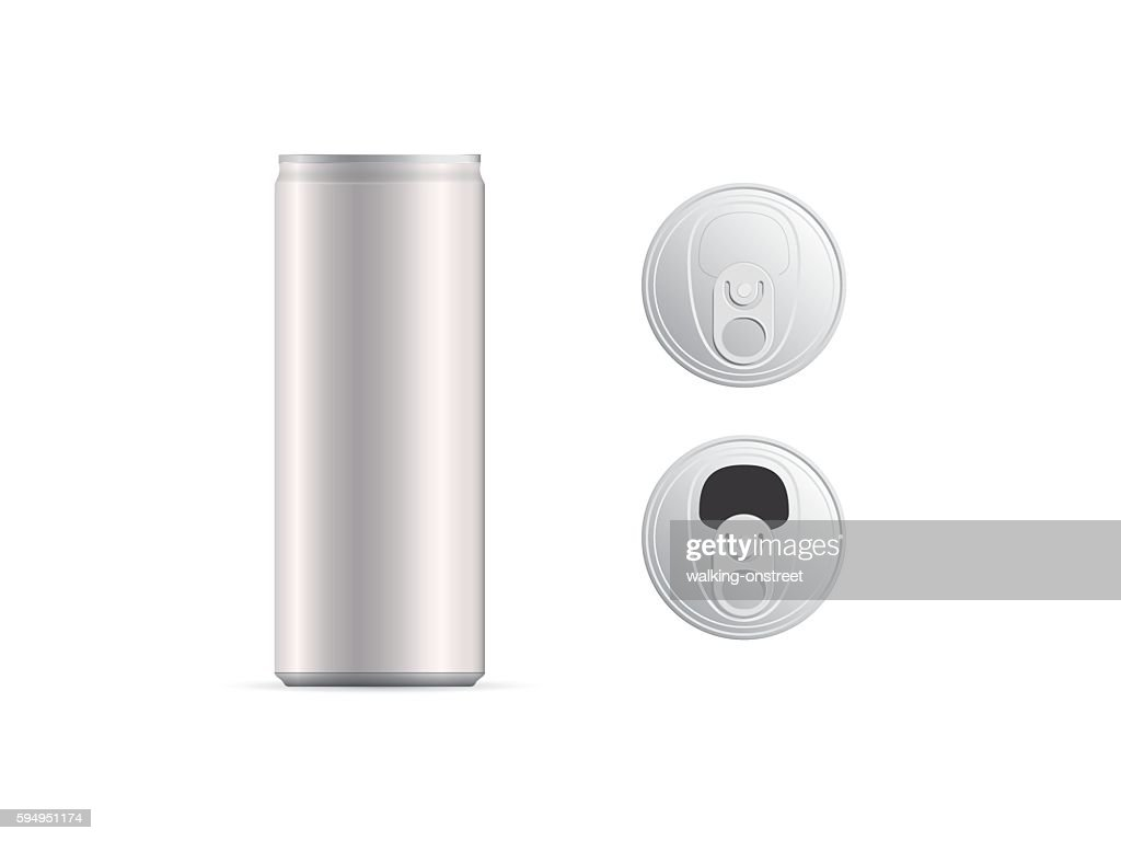 Aluminum thin cans and top view, isolated