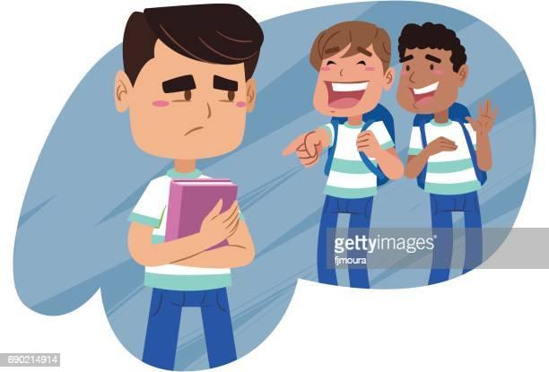 ilustraciones, imágenes clip art, dibujos animados e iconos de stock de alunos_rindo - bullying