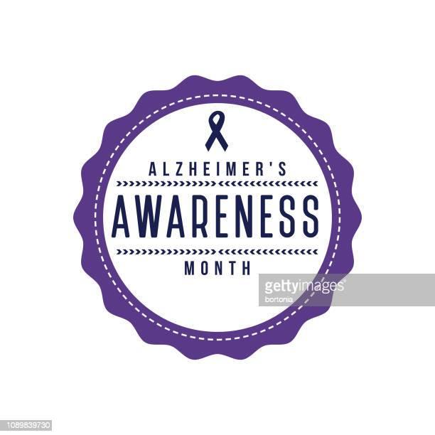 stockillustraties, clipart, cartoons en iconen met alzheimer awareness maand label - ziekte van alzheimer