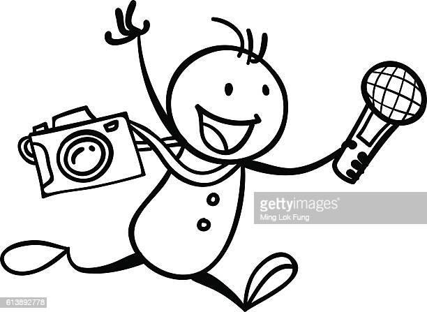 i am a reporter - camera stand stock illustrations, clip art, cartoons, & icons