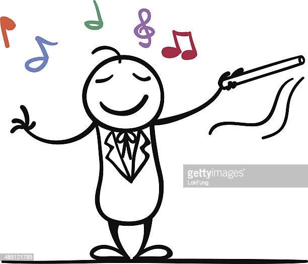 ilustraciones, imágenes clip art, dibujos animados e iconos de stock de estoy conductor - director de orquesta
