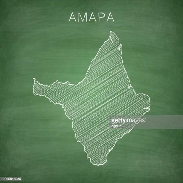 amapa map drawn on chalkboard - blackboard - amapá state stock illustrations