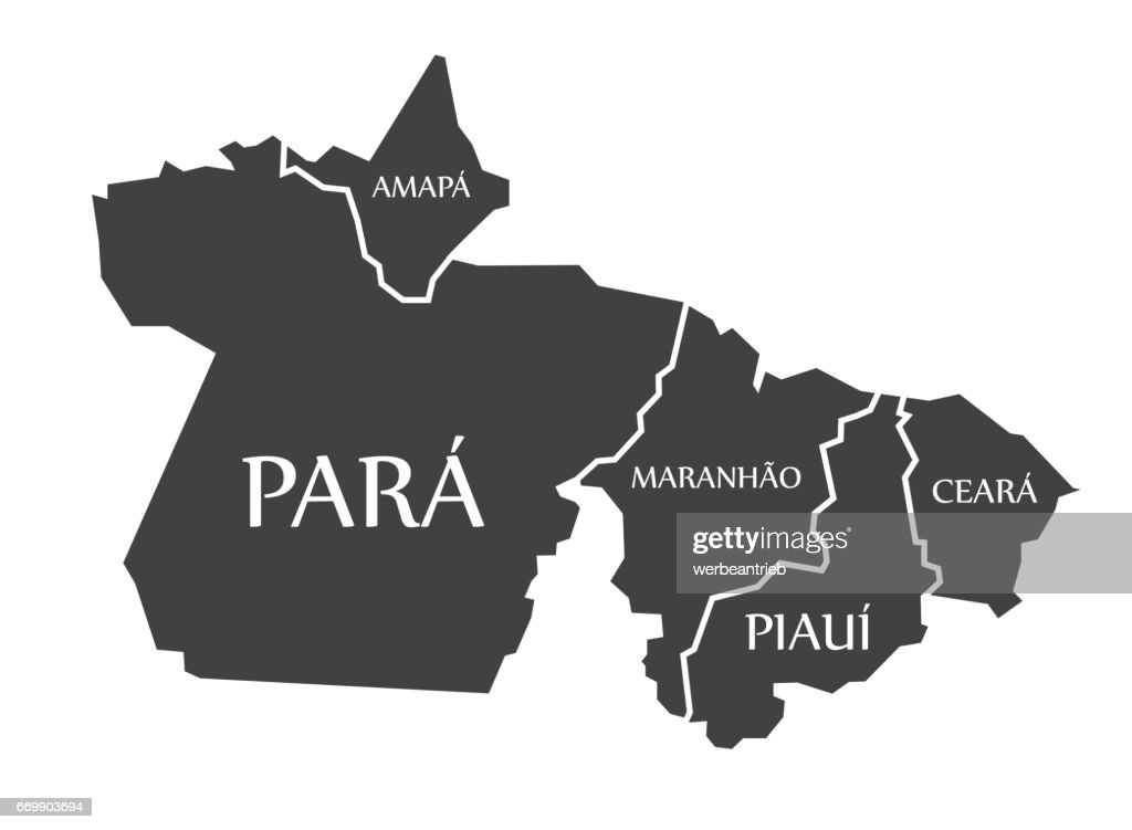 Amapa - Para - Maranhao - Piaui - Ceara Map Brazil illustration