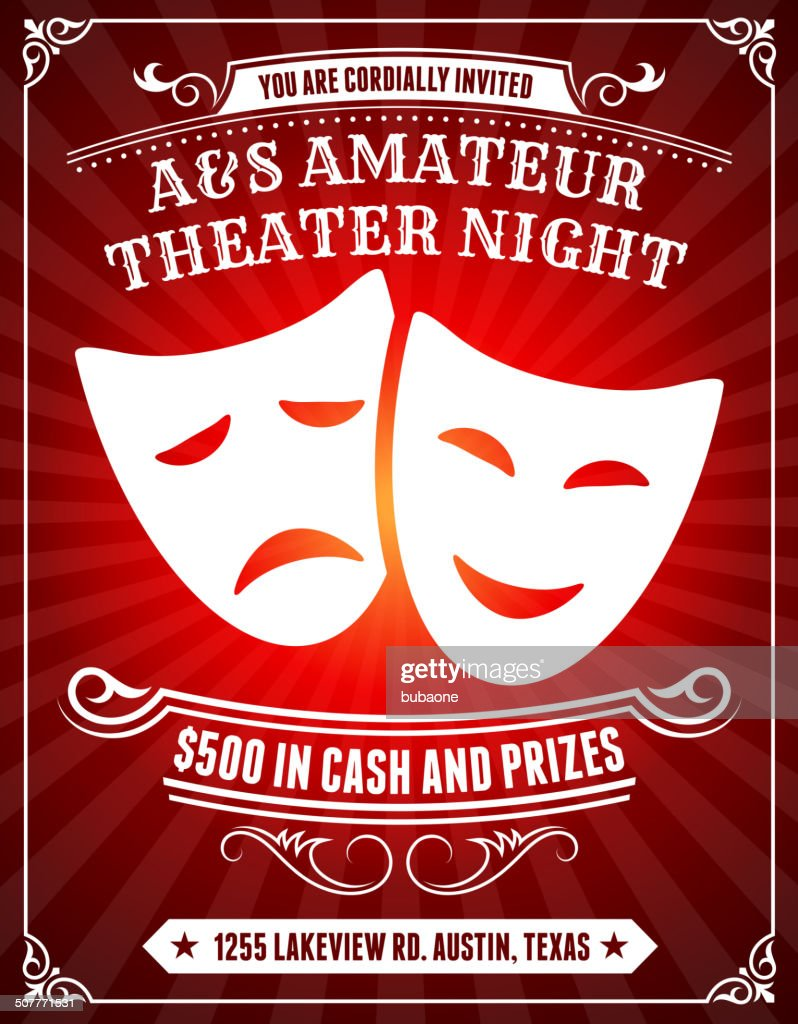 Amateur Theater Night Poster on Red Background : stock illustration