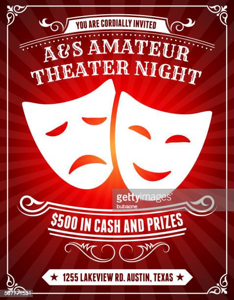 amateur theater night poster on red background - theatrical performance stock illustrations