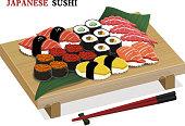 amazing delicious sushi set