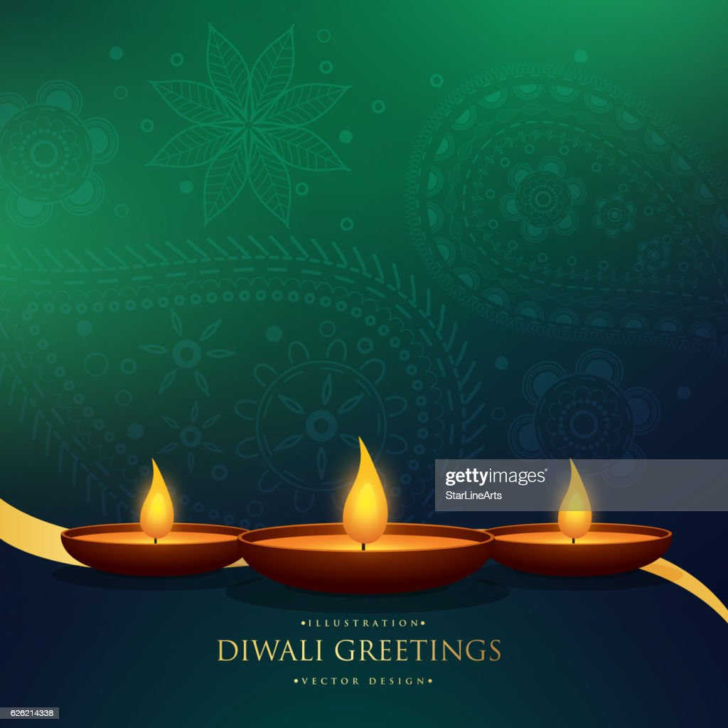 Amazing Happy Diwali Festival Greeting Background With Henna Pai