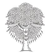 Amazing Monochrome Tree Of Life In The Indian Style.