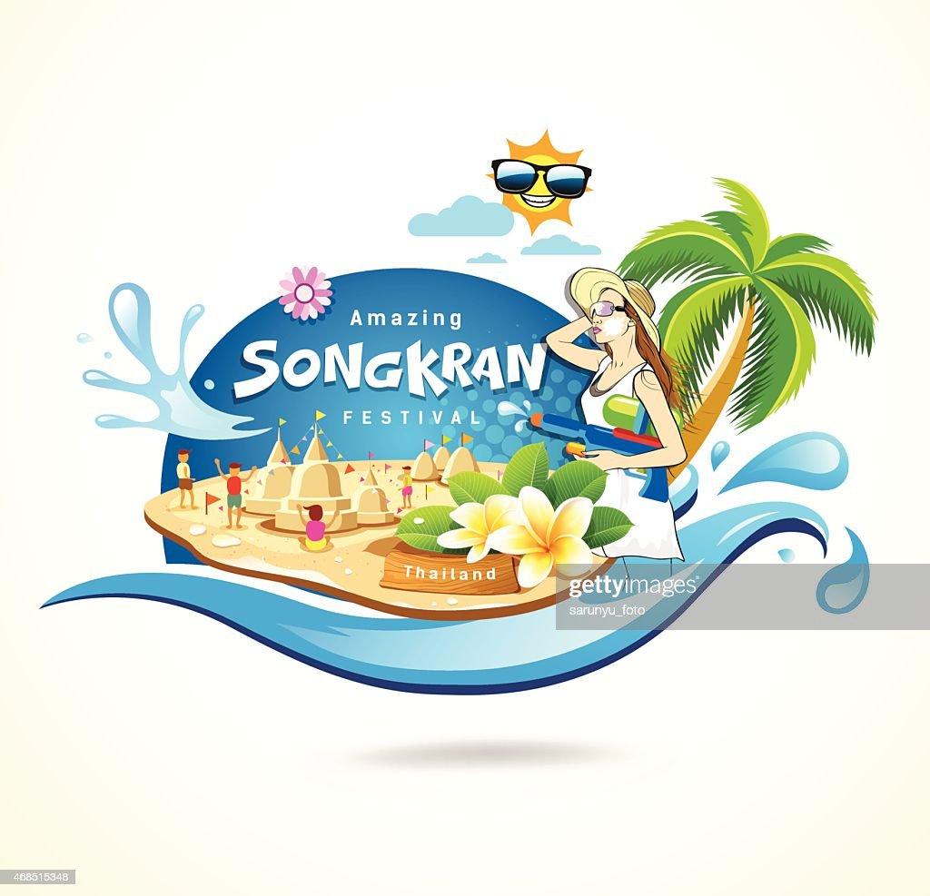 Amazing Songkran Festival in Thailand seashore concept