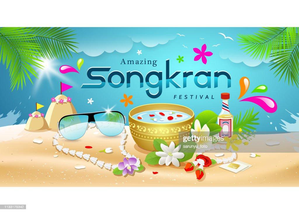 Amazing Songkran Festival summer of Thailand on sea background