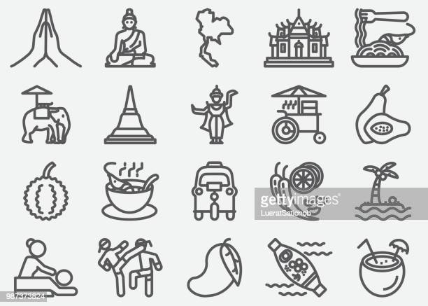 amazing thailand line icons - thailand stock illustrations