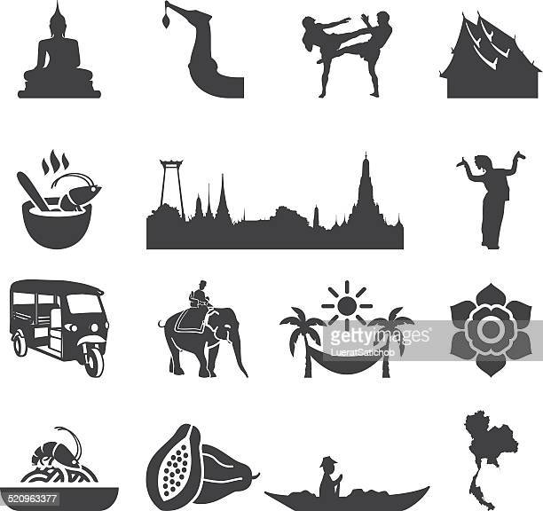 amazing thailand silhouette icons | eps10 - thailand stock illustrations