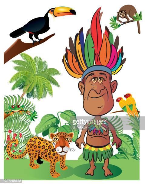 Amazon Rainforest and Amazon man