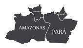 Amazonas - Para - Roraima - Amapa Map Brazil illustration
