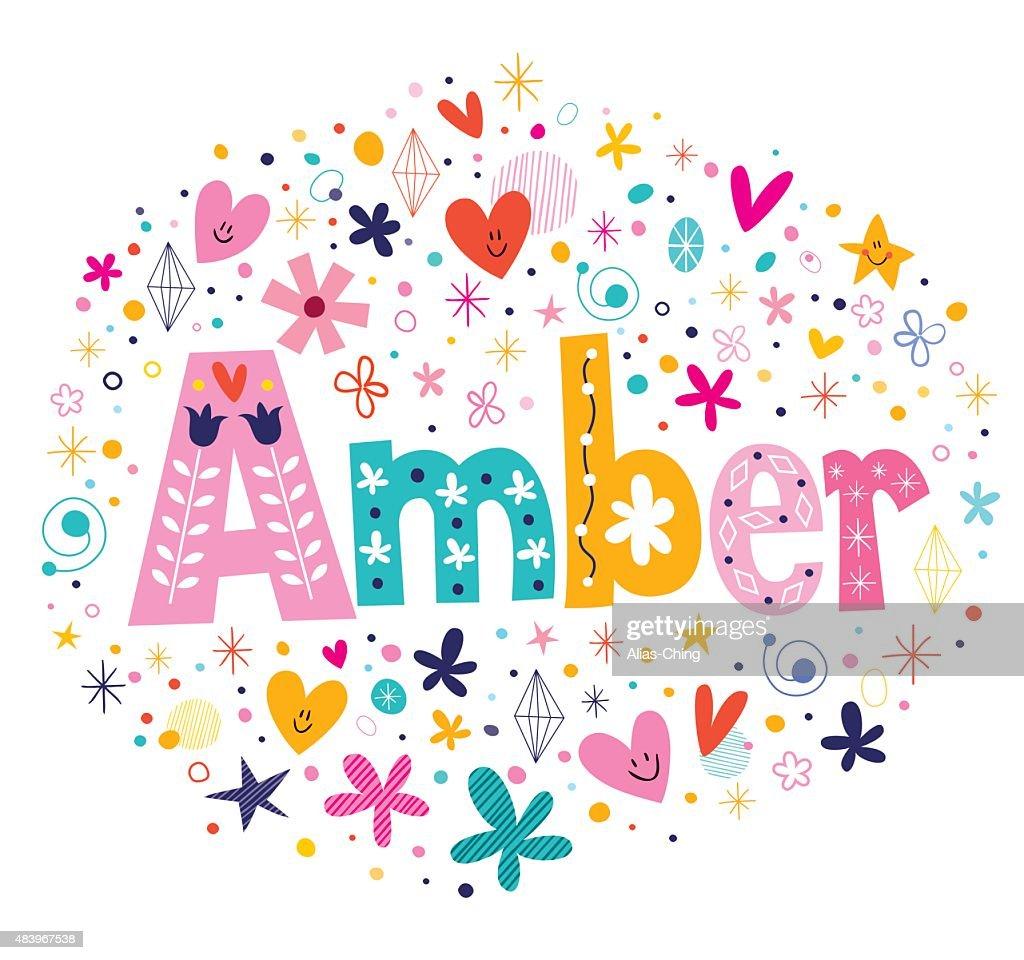 Amber female name decorative lettering type design : stock illustration
