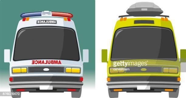 ilustraciones, imágenes clip art, dibujos animados e iconos de stock de ambulancia y personal carro vector - autocaravana