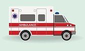 Ambulance car. Emergency medical service vehicle. Hospital transport.
