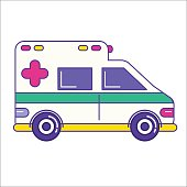 Ambulance car icon in trendy flat line style. Emergency service