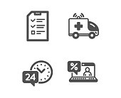 Ambulance car, Interview and 24h service icons. Online loan sign. Vector