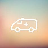 Ambulance car thin line icon