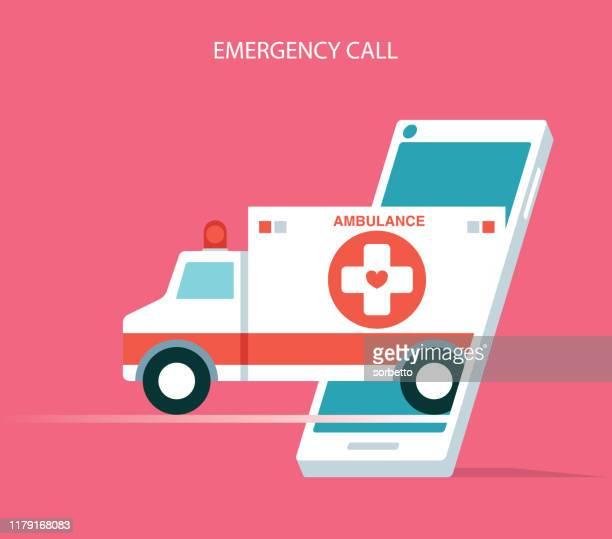 krankenwagen per handy - rettung stock-grafiken, -clipart, -cartoons und -symbole