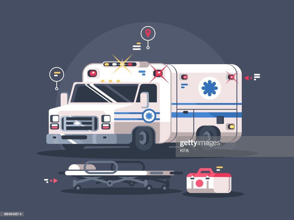 Ambulance car with flasher