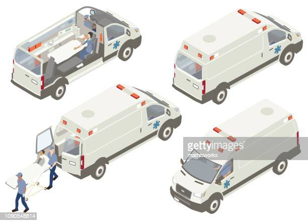 ambulance cutaways illustration - mathisworks vehicles stock illustrations
