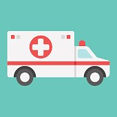 Ambulance flat icon, medicine and healthcare, transport sign vector graphics, a colorful solid pattern on a cyan background, eps 10.