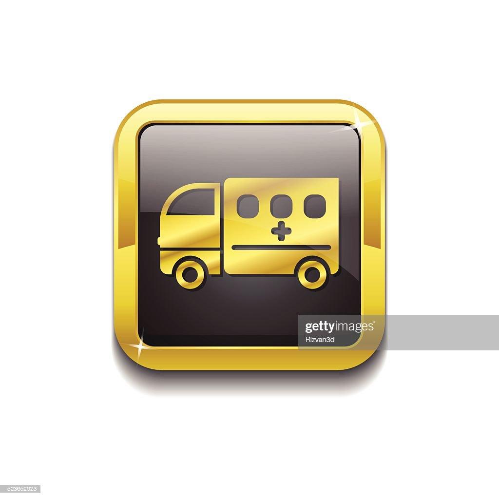 Ambulance Gold Vector Icon Button
