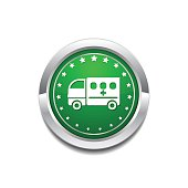 Ambulance Green Vector Icon Button
