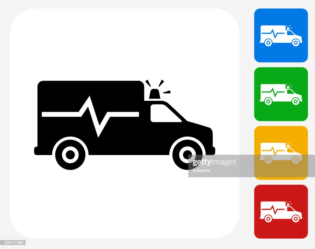 Ambulance Icon Flat Graphic Design